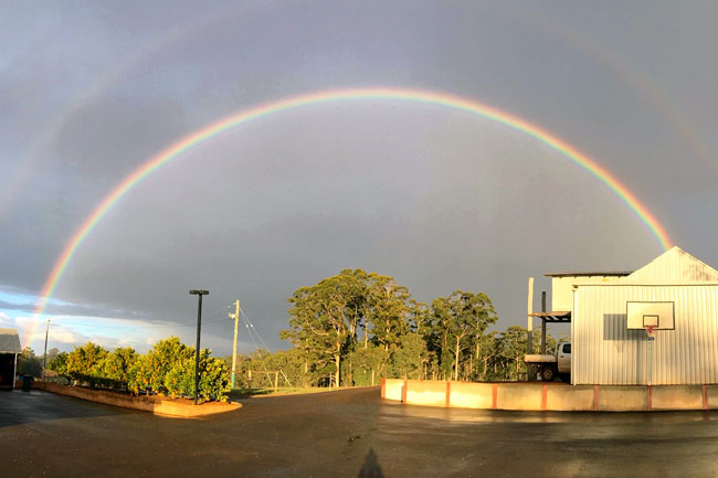 A rainbow over Millgrove's Manjimup Truffiere